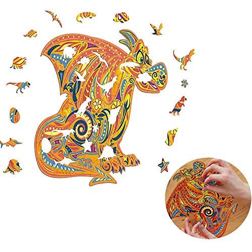 Yagor Magische Holzpuzzle, 3D Magisches Holzpuzzle Erwachsene Dragon 323 Puzzleteile In Einzigartiger Form, Familien, Erwachsene Und Kinder Bunter Fuchs, L
