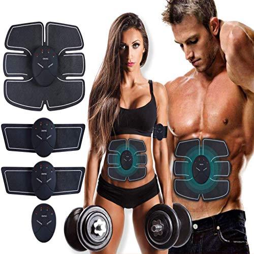 MASOMRUN Electroestimulador Muscular Abdominales Cinturón,Masajeador Eléctrico Cinturón con USB,EMS Ejercitador del Cuerpo de los Músculos de Brazos y piernas para Hombre Mujer