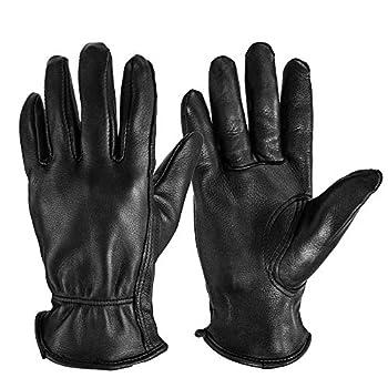OZERO Men Work Gloves Grain Deerskin Leather Shooting Gloves for Rubbing Jewelry/Driving/Riding/Gardening/Yard Work/Gardening/Farm/Hunting -  Black,L
