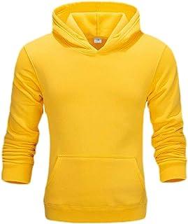Macondoo Mens Sweatshirt Casual Kanga Pocket Fleece Solid Hoodie