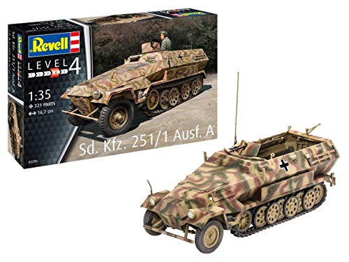Revell 03295 Sd.Kfz. 251/1 AUSF.A, Panzelmodellbausatz 1:35, 16,7cm originalgetreuer Modellbausatz für Fortgeschrittene, Unlackiert