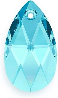 24 قطعة أصلية من سواروفسكي #6106 16 مم (0.63 بوصة) قلادة على شكل كمثري من الكريستال الأزرق الزبرجد لصنع المجوهرات (حجر الم...