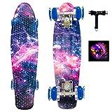 Sumeber Skateboard Kinder Mini Cruiser Skateboard Komplette 22 Zoll mit LED Leuchtrollen Skateboard für Erwachsene Kinder Anfänger Geburtstagsgeschenk (Galaxis)