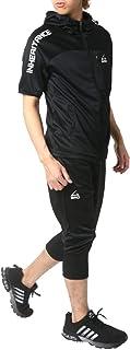 [ソレイルドール] ランニングウェア ジャージ 上下セット 半袖 パーカー 7分丈 ショートパンツ メンズ