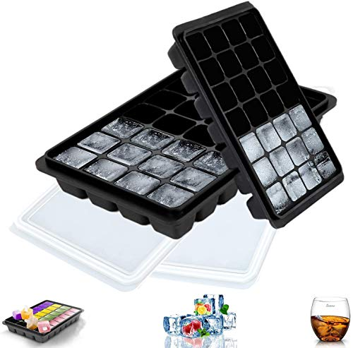 LessMo 2 PCS Ice Cube Tray, Square Ice Cube Freezing Tray Silicone with No-Spill Lids, Flexible, Easy Release, Professional Quality, Best for Chilled Drinks, Whiskey, Cocktails and Wine, Black