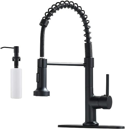 new arrival GIMILI Spring outlet online sale online sale Kitchen Sink Faucet with Deck Plate & Soap Dispenser,Matte Black outlet sale