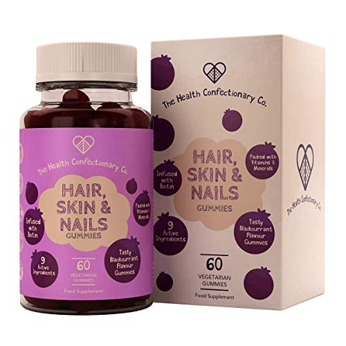 HCC Hair, Skin & Nail Care Gummies | 60 Blackcurrant Flavoured Gummy Vitamins with Biotin, Selenium, Zinc, Vitamin A, C & D3 | Hair Vitamins | Soft and Easy to Swallow | Non GMO, Gluten & Dairy Free