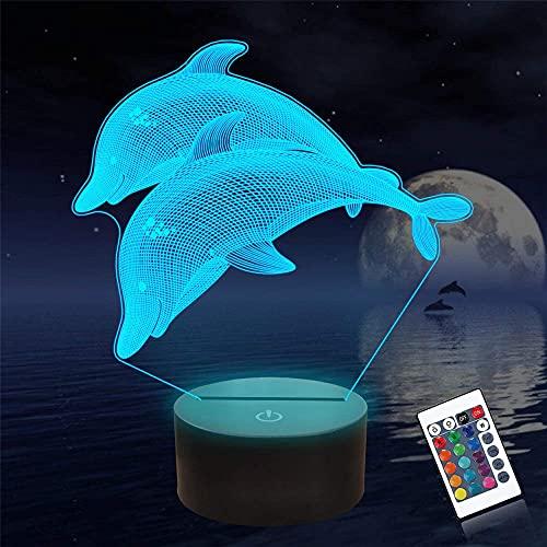Dolphin 3D - Lámpara de lava con ilusión óptica 3D para dormitorio, 16 colores, regulable, con control táctil con mando a distancia, regalos creativos para niños de 10 años