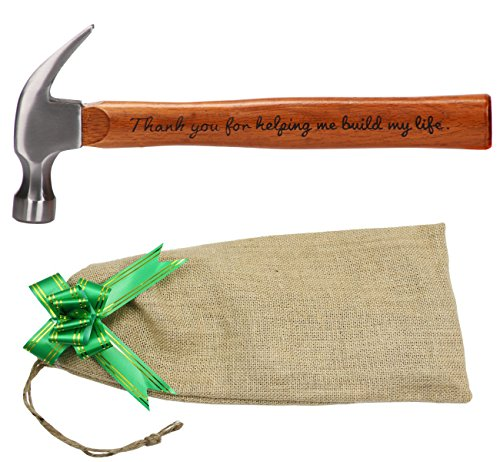 Fathers Day Gifts for Dad - Personalized Engraved Wood Handle Steel Hammer Gifts, Thank You for Helping Me Build My Life, Ideal Papa Gifts from Daughter and Son