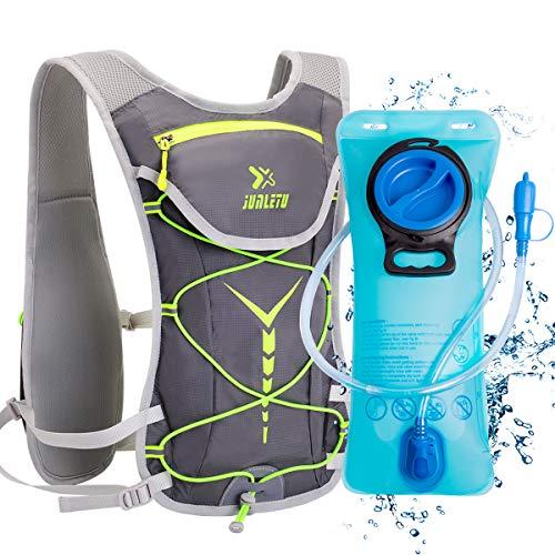 BTNEEU Sac Hydratation avec Poche d'eau 2L, Sac à Dos Running Léger 6L pour Homme Femme, Sac à Dos Course à Pied Sac Trail Hydratation pour Marathon Randonnée Vélo VTT Escalade (Gris -Vert)