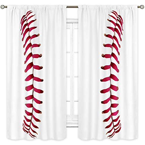 Cinbloo Sports Baseball Curtains Rod Pocket Pink Red Lines Gym Girls Boys Men Waterproof Art Printed Living Room Bedroom Window Drapes Treatment Fabric 2 Panels 42 (W) x 63(L) Inch