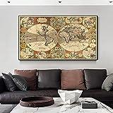 Mapa del mundo global retro Mapa de ruta antiguo Mapa náutico de la vendimia Pintura en lienzo Arte de la pared Impresiones de carteles Dormitorio Sala de estar Oficina Estudio Decoración pa