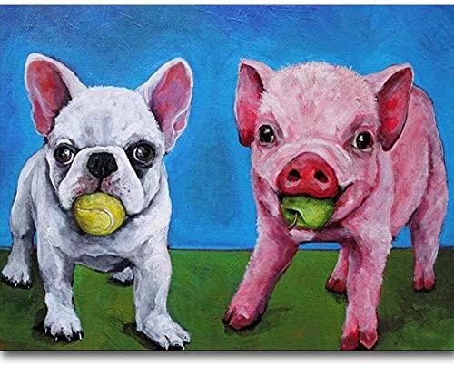 Beaxqb Pintar por Numeros para Adultos Niños Perros y Cerdos Pintura por Números con Pinceles y Pinturas Decoraciones para el Hogar para decoración del hogar 40x50cmSin Marco