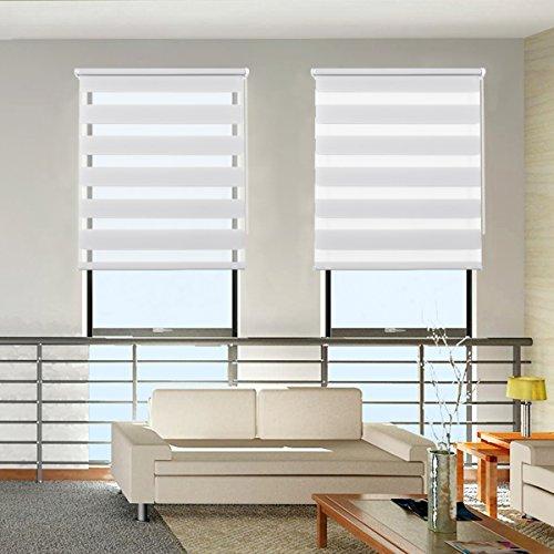 Grandekor Doppelrollo Klemmfix Leinen 90x120cm, Duo Rollos ohne Bohren mit Klämmträger für Fenster und Tür, Fensterrollo lichtdurchlässig & verdunkelnd