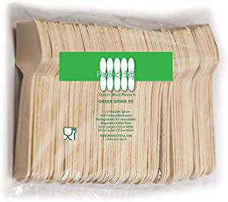 Perfect Stix Green Spoon 95- Wooden Square Compostable Cutlery Taster Spoon with Concave, 3-1/2