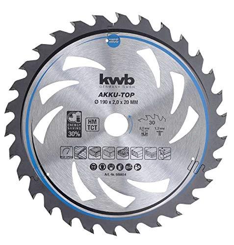 kwb 586654 AKKU-TOP Energy-Saving cirkelzaagblad Easy Cut, Ø 190 x 20 mm dunne snede met speciale wisseltand 30 tanden Z30