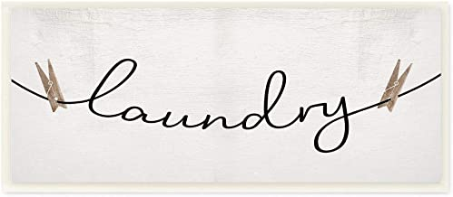 Stupell Industries Clothespins on the Laundry Line Typography Wall Art, 7 x 17, Off-White