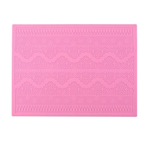 BESTOMZ Moule en dentelle silicone pour gâteau décoration (rose)