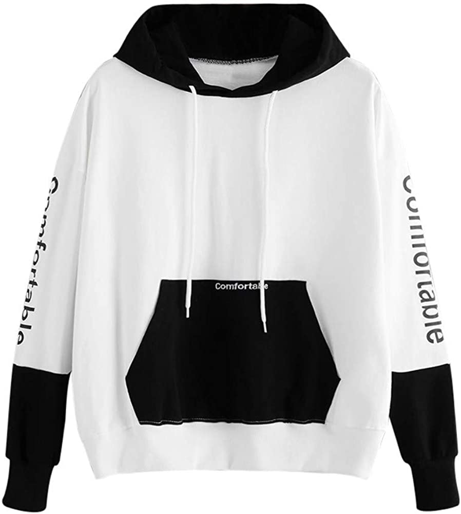 Girls' Hoodie, Misaky Casual Letter Print Stitching Long Sleeve Hooded Pullover Sweatshirt Blouse Tops