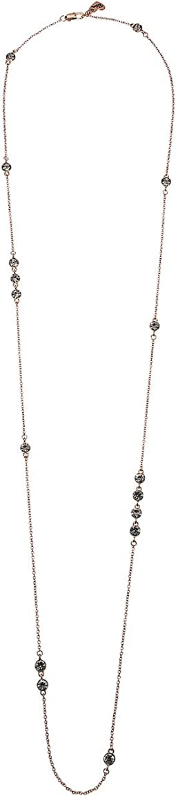 Betsey Johnson Blue by Betsey Johnson Rose Gold and Crystal Station Necklace