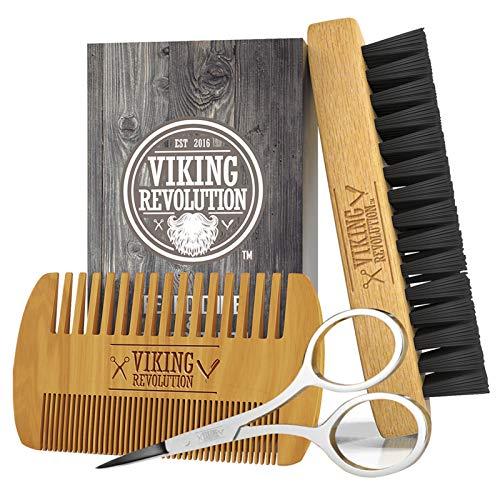 Viking Revolution Beard Comb & Beard Brush Set for...