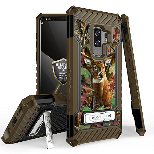 Beyond Cell Trishield Series Rugged Case Phone Cover Built in Kickstand Compatible with Samsung Galaxy S9+ Only Printed Deer Outdoors Hunting Camo