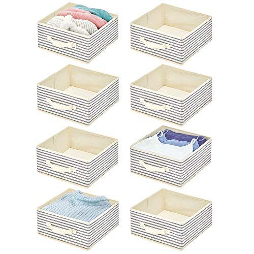 mDesign 8er-Set Aufbewahrungsbox aus Stoff – kompakte Box für Ordnung im Kleiderschrank – Stoffkiste mit Griff und offener Oberseite für Kleidung, Decken, Accessoires und mehr – naturfarben und blau