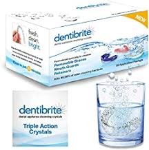 Dentibrite Crystals Cleaner for Removable Dental Appliances - Invisalign Aligners, Retainers, Guards, Dentures, Trays/Aligners - Odor Bacteria Remover - No Persulfates or Dyes - 28ct - Made in USA