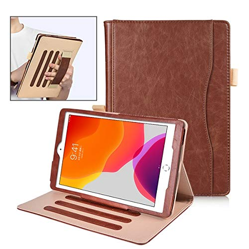 RZL PAD & TAB cases For Ipad 10.2 2019, Auto Sleep Stand Leather Case Cover For Ipad Air 3 10.5, For Ipad 7th Gen With Handstrap (Color : Brown)