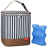 Lekebaby Baby Bottle Bag with Ice Pack Fits 6 Bottles or 4 Large 9 Oz Bottles, Leakproof Breastmilk Cooler Bag for Nursing Mom Daycare, Striped