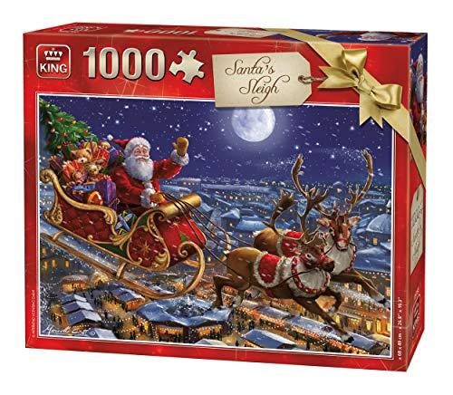 King 5768 - Puzzle natalizio con slitta di Babbo Natale, 1000 pezzi, a colori, 68 x 49 cm