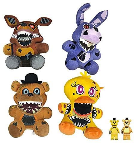 FNAF Plush Toy Set of 4pcs Dolls FNAF Plushies Five Nights at Freddy's FNAF Toy Freddy Plushie, 2 Golden Freddy Figure