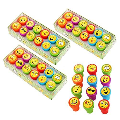 JZK 36 x Emoticon Emoji Inktstempels voor Kinderen Stempel Set Zelfinktende Stamper voor Kinderen Verjaardagsfeestje Gunsten Tas Vuller Bedankt Cadeau voor Jongens Meisjes