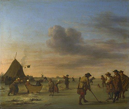 Het Museum Outlet - Adriaen van de Velde - Golfers op het IJs in de buurt van Haarlem, Stretched Canvas Gallery verpakt. 20 x 28 cm.