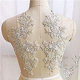 Bordado floral con apliques de encaje con cordón para coser en vestido de boda, vestido de noche, falda de disfraces, manualidades, 1 pieza (plata)