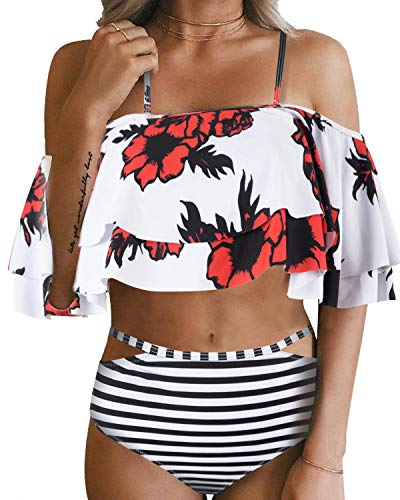 Tempt Me Women Two Piece Swimsuit High Waist Ruffled Bikini Set White Flower XS