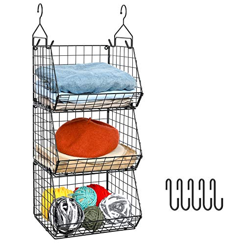 X-cosrack 3 Tier Foldable Closet Organizer Clothes Shelves with 5 S Hooks Wall Mount&Cabinet Wire Storage Basket Bins for Clothing Sweaters Shoes Handbags Clutches Accessories