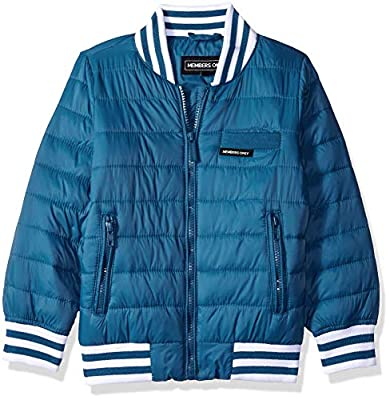 Members Only Boys' Little Blend Quilted Bomber Jacket, deep sea, 5