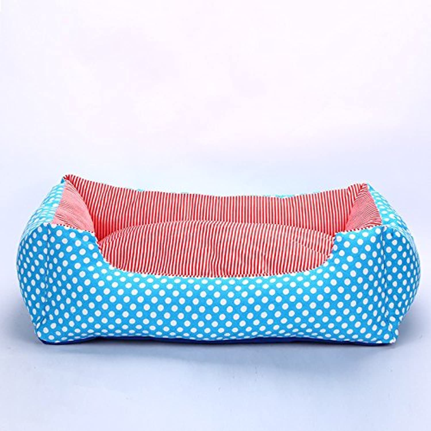 Pet Online Doghouse Square Striped Disposable and Washable Cotton Thicker Pet Bed Four Seasons Warm, XL  70  50  20cm, bluee