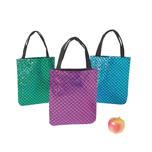 Fun Express - Iridescent Mermaid Scale Tote Bags - Apparel Accessories - Totes - Novelty Totes - 6 Pieces