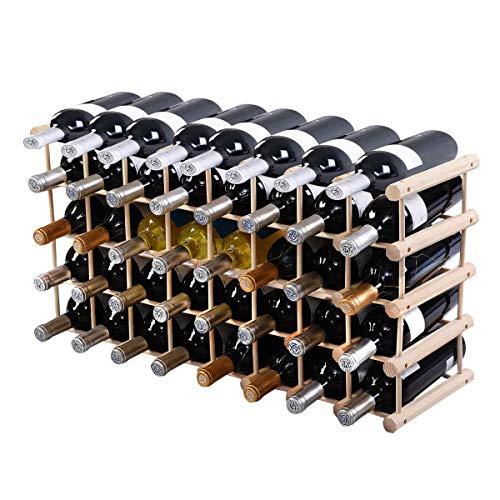 Goplus Portabottiglie Scaffale di Vino Portavino in Legno di Pino da 40 Bottiglie Legno Naturale 102,5x24x33cm