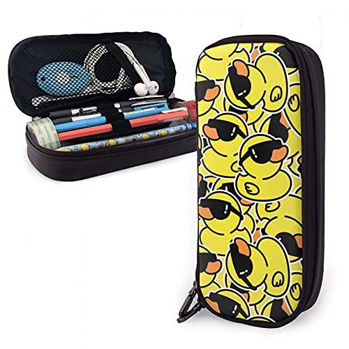 Estuche de lápiz de PU de pato amarillo, organizador de bolsas de papelería para niños y adultos