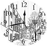 tuobaysj Reloj de Pared Silent Paris Street con Casas, Edificios y árboles en el callejón Torre Eiffel en el Fondo Reloj de Pared