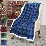 Blue Buffalo Plaid Sherpa Throw TV Blanket 50' x 60', Super Soft Warm Comfy Plush Fleece Bedding Couch Cabin Throw Decorative Blanket