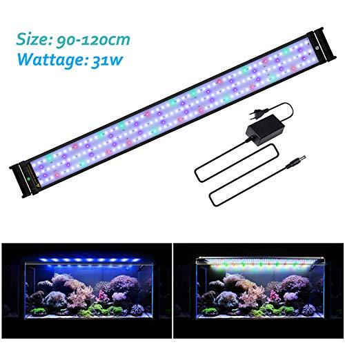 JOYHILL Aquarium LED Beleuchtung Aquariumbeleuchtung Weiß Blau Rot Grün für 90-110cm Aquarium