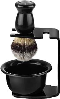 Juego de Herramientas de Afeitado, Tazón de Jabón + Brocha de Afeitar de Pelo de Cerdas + Soporte de Afeitado, Regalo de Herramienta de Limpieza de Barba para Hombres