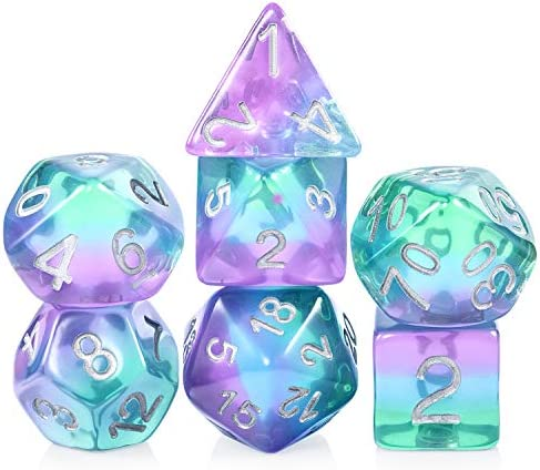 Resin D D Dice Set DNDND Translucent Multiable Colors Polyhedral Dice with Organza Bag for DND product image