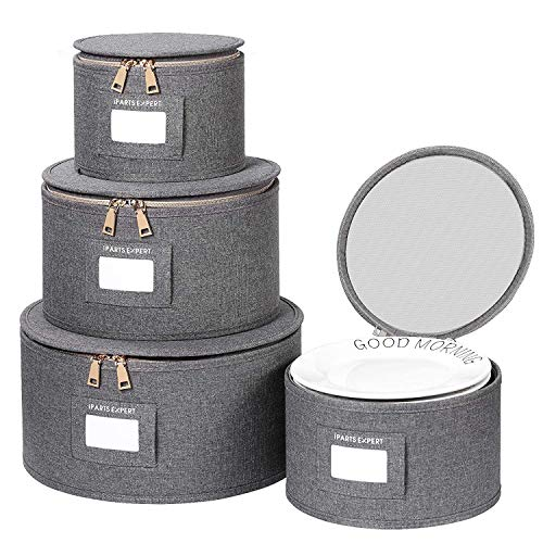 China Storage Box Set for Dinnerware,Dishes Storage Containers for Saucers, Dinner and Salad Plates Protects,Hard Shell and Stackable with Lable Window, 44Pcs Felt Plate Dividers Included