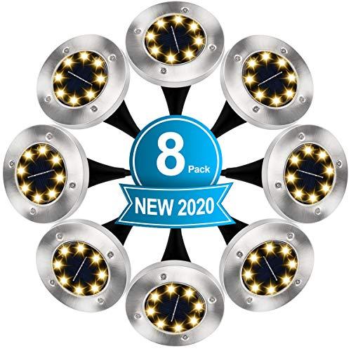 Luci Solari Giardino, 8 LED Lampade da Giardino Luce Sepolta Solare in Acciaio Inox IP65 Impermeabile Luci da Terra per Esterno Prato Cortile Scala Strade Vialetto Paesaggio (Bianco Caldo) (8 Pezzi)