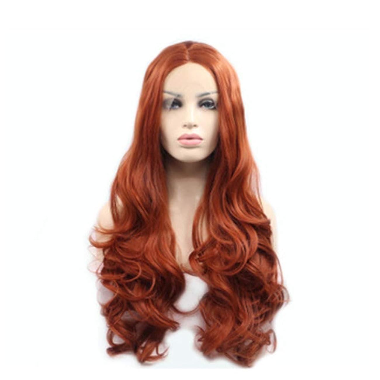 体細胞求人ゲインセイZXF 化学繊維フロントレースかつらかつら長い巻き毛の大きな波ふわふわ髪セット 美しい